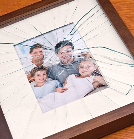 Shattered glass on family portrait