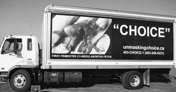 Pro Choice marketing on a truck