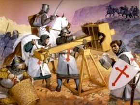 A painting of a scene during the Crusades