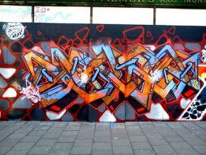 A tagged wall