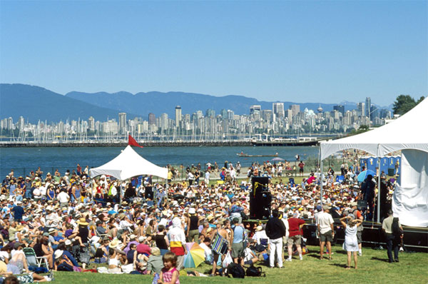 A view over the crowd at the Vancouver Folk Music Festival on Jericho Beach