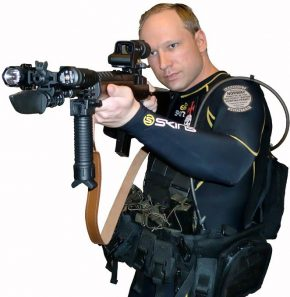 Anders Breivik in a self portrait, wearing a diving suit, holding a gun