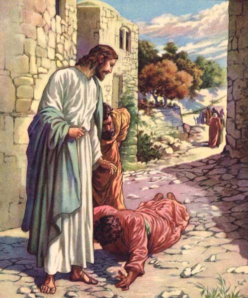 Jesus healing the man with leprosy