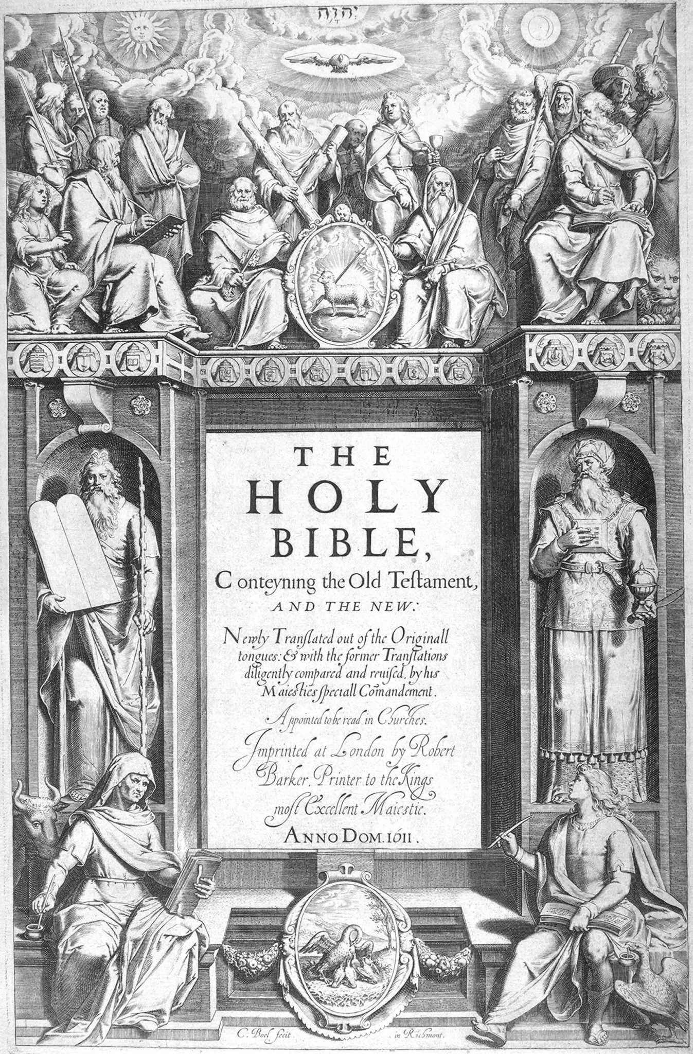 Title page of the first edition of the King James Bible in 1611