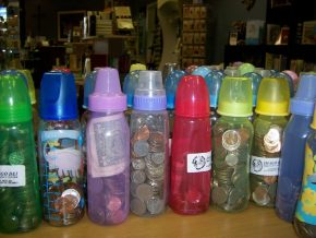 Baby Bottles filled with Coins