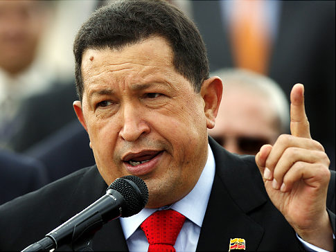 Hugo Chavez delivering a speech
