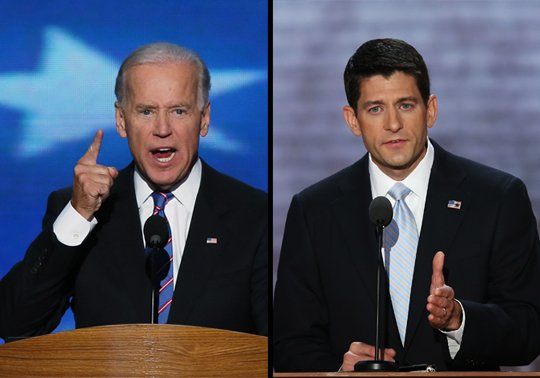 Vice President Joe Biden and Republican vice-presidential candidate Paul Ryan during the vice-presidential debate