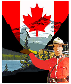 A mounty in front of a Canadian flag welcomes visitors