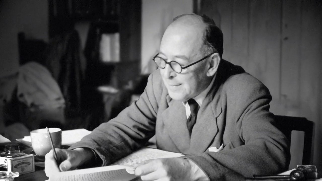 CS Lewis at his desk