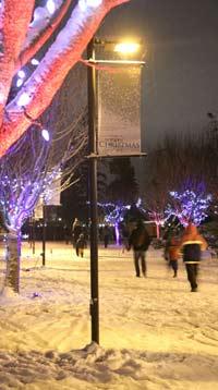People walk at Trinity Western University in Winter