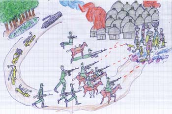 Drawing by a Sudanese Child of the atrocities in Darfur